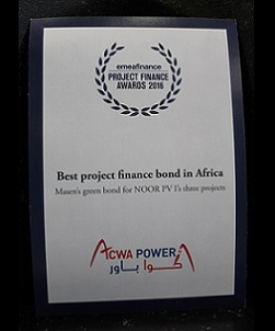 EMEA FINANCE – PROJECT FINANCE AWARDS 2016 – BEST PROJECT FINANCE BOND IN AFRICA